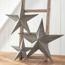 rustic tin star wall decor set of 3
