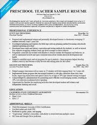 Sample Preschool Teacher Resume Teacher Resume Resume Cv Cover