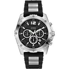 guess w0167g1 gents 45mm silver steel bracelet case chronograph guess men s silver tone silicone band steel case quartz watch w0167g1
