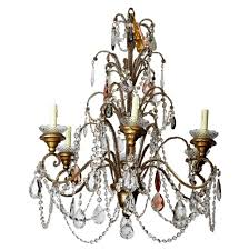 italian six light crystal chandelier with giltwood bobeches for