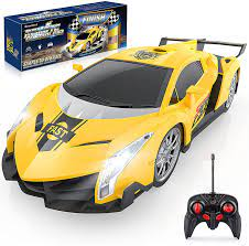 Growsland Unisex-Child Remote Control Car, Rc Cars Xmas Gifts For Kids 1/24  Electric Sport Racing Hobby Toy Car Model Vehicle Adults With Lights And  Controller Yellow: Amazon.co.uk: Toys & Games