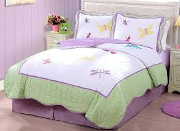 girl quilt set purple green erfly dragonfly bedding little girls full queen kids bedspread sets