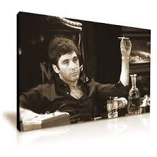 image is loading scarface tony montana canvas wall art picture print  on sepia canvas wall art with scarface tony montana canvas wall art picture print 76x50cm sepia