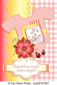 Newborn Congratulation Card Card In Scrapbooking Style For Greetings With Newborn Girl Cute