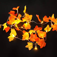 Fall Garlands With Lights Thanksgiving Decorations Lighted Fall Garland Maple Leaf