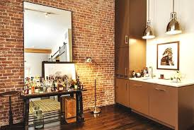 mirrored brick walls