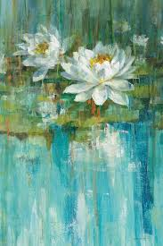 water lily pond panel i painting print on canvas