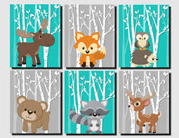 majestic looking kids wall art layout design minimalist woodland nursery decor teal gray forest zoom 3d diy for bedroom