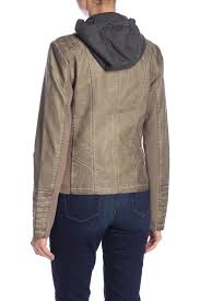 sebby women taupe faux leather knit hooded jacket sl8517 ziipkle