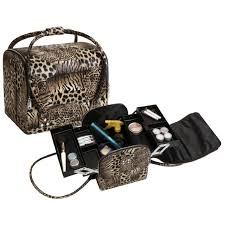 leopard roll top makeup case with straps