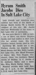 Hyrum Smith Jacobs son of Swen and Sara obituary 20 April 1939 -  Newspapers.com