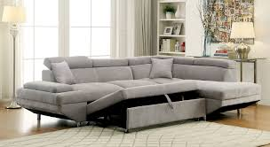 furniture of america gy gray modern sleeper sectional sofa