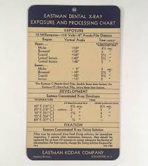 Details About Scarce 1938 Eastman Kodak Dental X Ray Exposure And Processing Chart