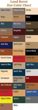 Land Rover Dye Color Chart Autoleatherdye