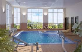 Indoor infinity pool design Infinity Edge Indoor Infinity Pool Design With Gym Area Also Large Window For Small Room Space Folat Indoor Infinity Pool Design With Gym Area Also Large Window