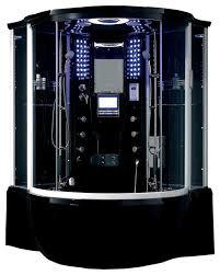 florence steam shower sauna with jacuzzi whirlpool massage bathtub black