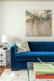 Blue Sofa Velvet Tufted Sofa With Relaxing Seat Design For Modern Living