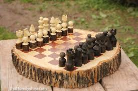 Handmade Wooden Board Games Custom Made Rustic Wood Log Chess Set Ahşap Işleri Pinterest 33