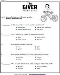 across five s by irene hunt unit test by mrsnick multiple  the giver essay questions the giver literature study unit