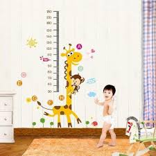 Giraffe And Monkey Height Chart Cum Wall Sticker