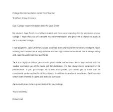 Recommendation Letter For Student Going To College College Student
