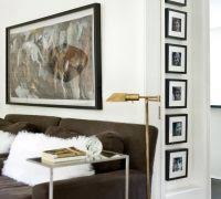 Decorating with black and white photography living room contemporary with  dark floor
