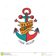 Classic American Design Anchor Ribbon And Words Retro Tattoo Logo Design Classic