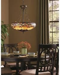quoizel tiffany belle fleur 4 light pendant in vintage bronze finish with chain suspension