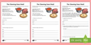 story books roald dahl primary resources ks story page  the chewing gum meal writing activity sheet to support teaching on charlie and the chocolate factory