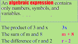 algebraic expressions and equations