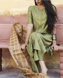 Pakistani Silk Kurtis Designs Shop Olive Green Suit Set Kurta With Pants Fashion