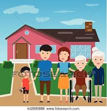 New Home Cartoon Images Happy Family Standing Outside New Home People Moving House