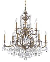 crystorama dawson 9 light clear crystal brass chandelier ii
