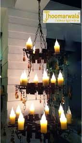 wooden candle chandelier