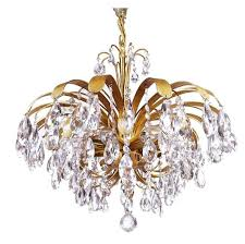 cascading crystal gilt brass leaf chandelier by palwa germany 1960s for