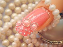 CORAL PEARLS BEADS AND LACE DESIGN ACRYLIC EASY NAIL ART | Step by ...