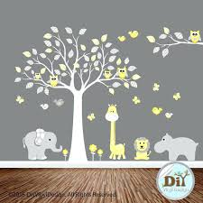 babies wall art yellow and gray jungle animal vinyl tree decal baby wall decal owl themed babies wall art babies baby  on safari themed nursery wall art with babies wall art baby boy nursery wall art blue gray elephant dream