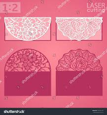 fold card laser cut wedding invitation greeting card stock vector 527941210