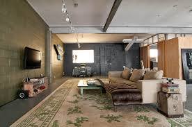 basement track lighting. Great Industrial Living Room With Unfinished Basement Ideas Also Area Rug And Wall Mount Tv Recessed Lighting Steel Beams Track Plus