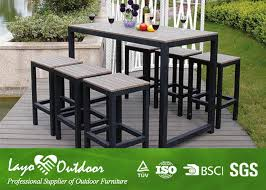 Synthetic Wood Outdoor Furniture Faux Wood Patio Dining Set With