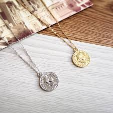 gold silver color round coin pendant necklace for women simple portrait charm necklace dainty layering necklaces gifts jewelry market
