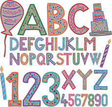 cute holiday letters and numbers design vector