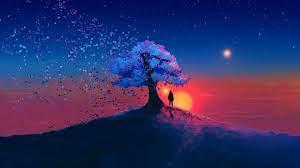 Boy Standing under Tree at Sunset HD ...