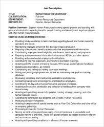 Job Description Sample National Job Descriptions Laws - hr coordinator  resume