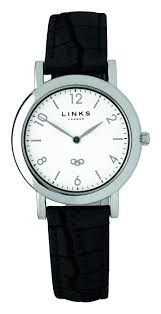 links of london noble slim womens white dial black leather watch 6020 1097