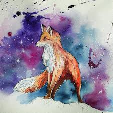 и немного космической лисы Fox Sketch Tattoo Watercolor
