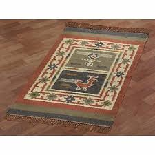 blue hacienda tribal 30x50 jute wool rug 30 x 50