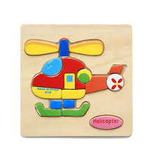 magideal wooden cartoon helicopter shape puzzle kids baby educational toy