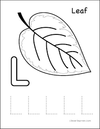 L is for leaf letter coloring worksheet for preschools