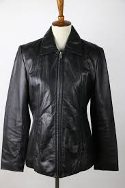 excelled collection deep black long sleeve collared leather jacket m